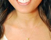 Gold Cube Necklace, Brushed Gold Vermeil Square