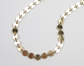 Tiny Disc Necklace, Dots of gold, 14ktGold Filled or Sterling Silver