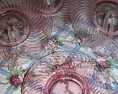 SALE SALE SALE Imperial Pink Glass Depression Set  5 Luncheon Plates Twisted Optic Psttern 1927-1930