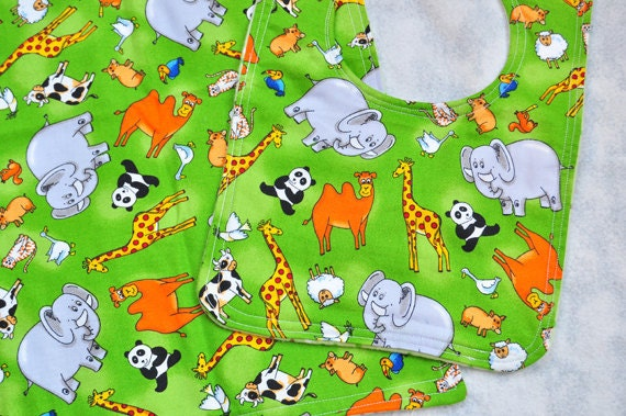 Baby Bib and Burp Cloth Set - Fun Zoo Animals on Green - Gift Idea for Baby Shower