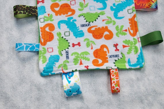 Ribbon Mini Sensory Blanket, Dinosaurs, New Mom Baby Gift