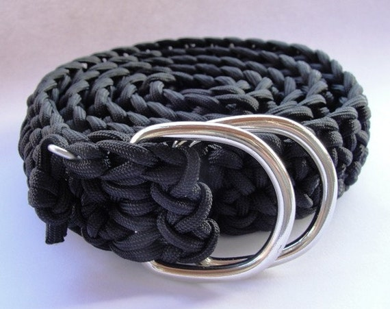 550 Paracord survival belt - Black with D-Rings