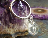 The Rock Sterling Silver & Crystal Quartz Ring Bling Cocktail Clear Faceted Organic Cha Cha Dangle Charm