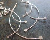 Budding Twigs Sterling Silver Earrings Pussy Willow Swing Dangle Large Ball Bud Spring Seasons Sprout Branch  Woodland Trees Forest