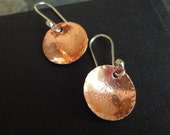 Copper Starry Night Earrings with Sterling Silver Ear Wires Hammered Hand Forged Constellation Rustic Mixed Metal Stars Stardust