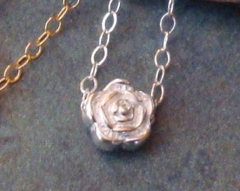 Petite Sterling Silver Rose Bud Flower Necklace Bead Chain Tiny Teeny Teen Teenager Feminine Spring Summer Meadow