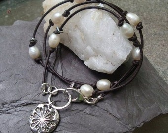 Leather Wrap Bracelet Necklace Lariat Recycled Fine Silver Dandelion Charm Pearls Sterling Snowflake Custom June Birthstone Brown Fashion