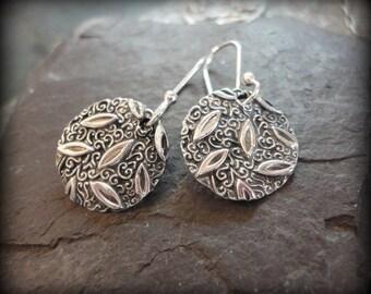 Fine Silver .999 Leaf Vine Charm Earrings Oxidized Recycled Tiny Dainty Round Woodland Garden Forest Vinca