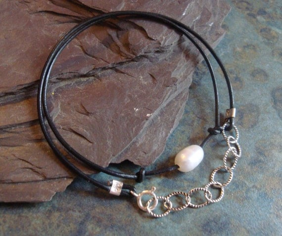 Freshwater Pearl, Sterling Silver & Leather Bracelet June Birthstone Chain Metal Stamping