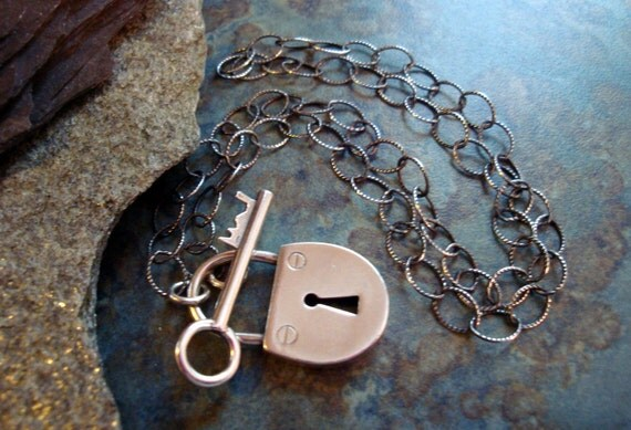 Sterling Silver Toggle Lock and Key Choker Necklace Love Teen Romantic Romance Casual