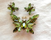 Reserve for Barbara King Juliana Butterfly Brooch and Earrings in Olivine and Spring Green Rhinestones
