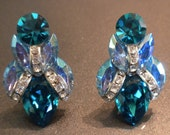 Nelly Earrings in Teal and Powder Blue Rhinestones with Icing