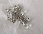 Weiss Brooch Rhinestones Dangle AB Crystal Beads