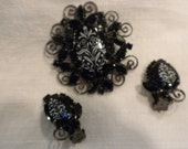 Juliana Brooch Earrings Black and White Floral Transfer