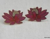 Laurel Burch Earrings Pond Lily Pink Enamel Cloisonne