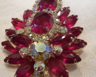 Juliana Brooch Siam Red and AB Rhinestones