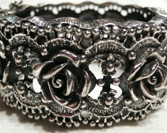 Tortolani Rose Pattern Clamper Bracelet and Free Matching Earrings