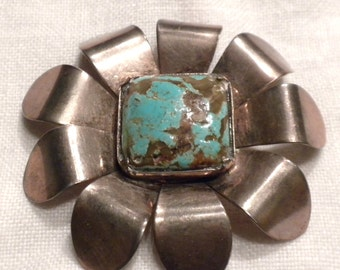Vintage Large Sterling Silver Turquoise Flower Brooch