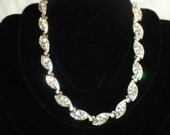 Vintage Bogoff Necklace Clear Rhinestones Full of Sparkle
