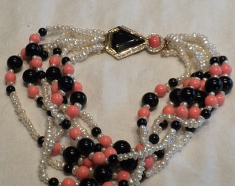 Vintage Necklace Kenneth Lane Faux Pearl, Onxy and Coral