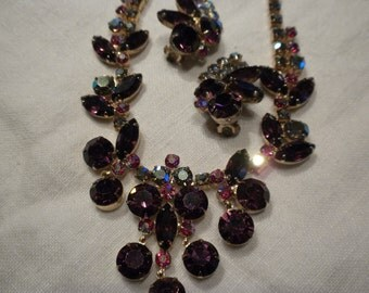 Juliana Necklace Earrings Purple Rhinestones Red AB