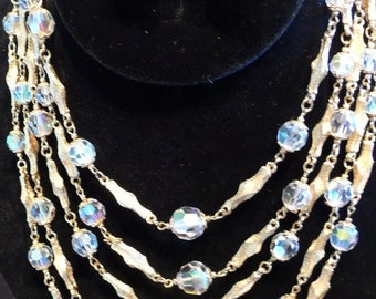 Vendome Crystal and gold Necklace, Bracelet and Earrings