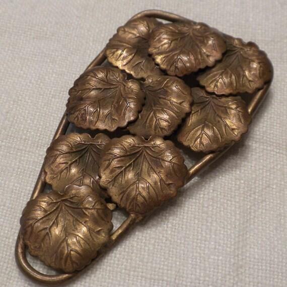 Vintage Dress Clip Brass Leaves Art Nouveux