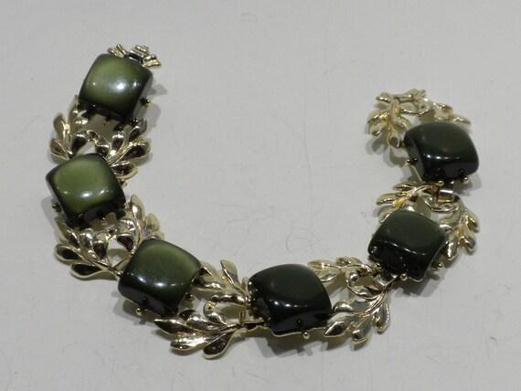 Vintage Moonglow Lucite Bracelet Moss Green