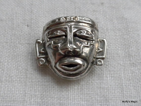 Vintage Sterling Silver Brooch Pendant Mayan Aztec Face
