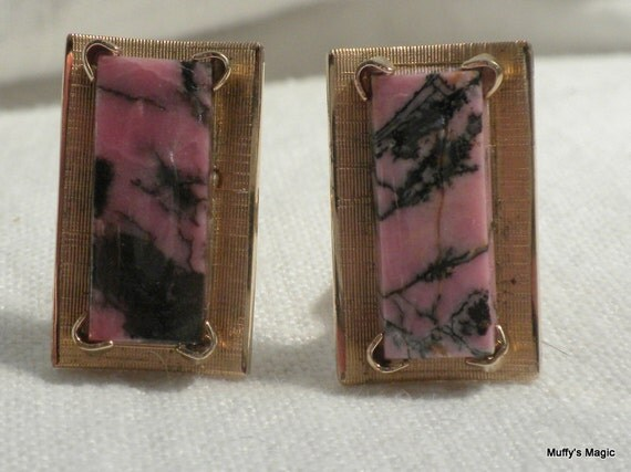 Vintage Rhononite Anson Cuff Links Pink and Black
