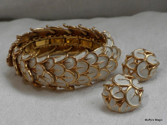 Boucher White Enamel Snakeskin Bracelet and Earrings