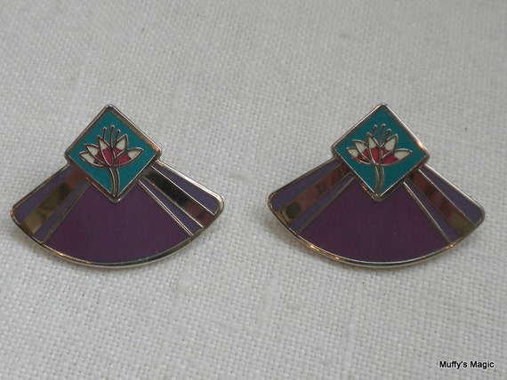 Laurel Burch Water Lily Earrings Lavender and Blue Enamel Cloisonne