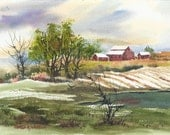 SUMMER FARM POND CROWS FIELDS LIGHT COTTONWOOD TREES ORIGINAL WATERCOLOR