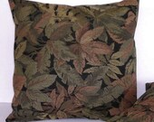 Tapestry Pillow Cover Pair in Black Sage Green and Sienna 16 x 16 Inch