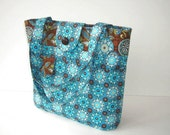 Blue and Brown Tote Bag Purse with Outside Pockets SALE