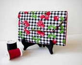 Red and Black Cherry Print Needle Wallet - Needle Organizer