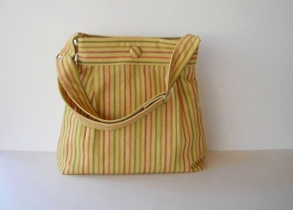 Yellow Striped Pleated Shoulder Bag Hobo with Adjustable Strap