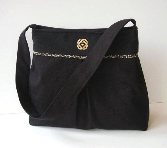 Black Canvas Shoulder Bag - Black Purse - ON SALE
