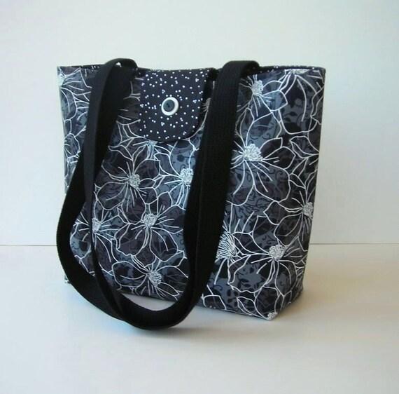 Black Tote Bag Purse - Gray Shoulder Bag - Black Gray Diaper Bag - Craft Bag - On Sale - Clearance
