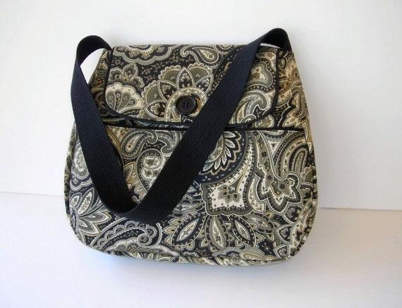 Black Paisley Shoulder Bag Purse Outside Pockets by ...