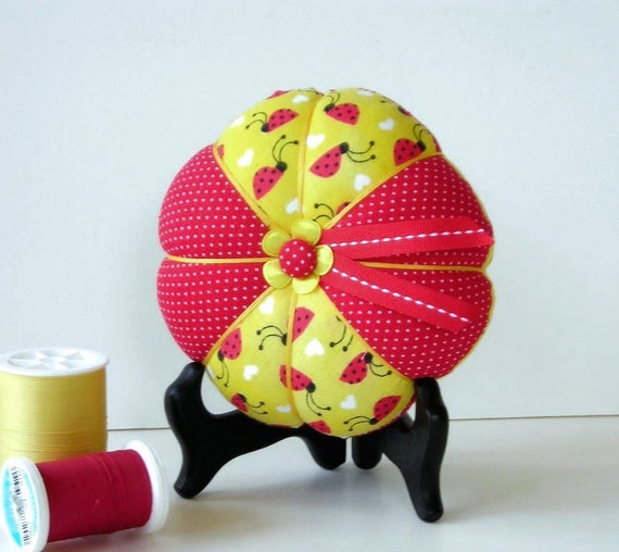 Red and Yellow Pin Cushion Ladybug Print