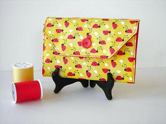 Red and Yellow Needle Wallet - Needle Organizer - Ladybug Print