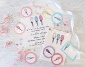 Sticky Sweet- Cotton Candy Birthday Invitations, Cards, Cupcake Flags and Gift Tags