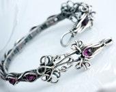 Lora- Fine Silver, Garnet Tennis Bracelet