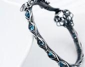 London Blue Topaz (December Birthstone) and Fine Silver Tennis Bracelet - Lora