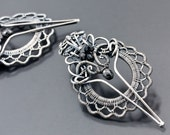 Black Diamond Earrings, Fine Silver Earrings - Ruffles & Lace