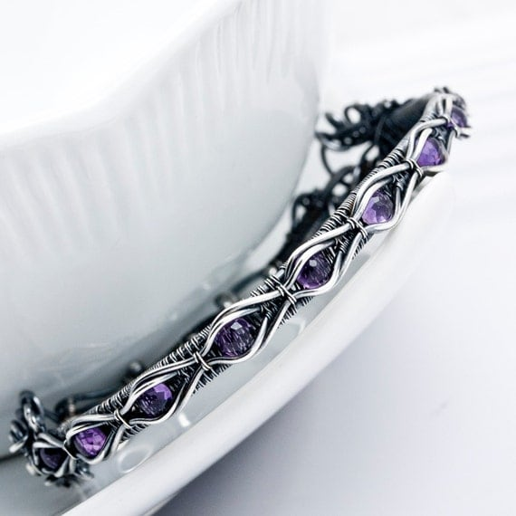 Amethyst and Fine Silver Tennis Bracelet