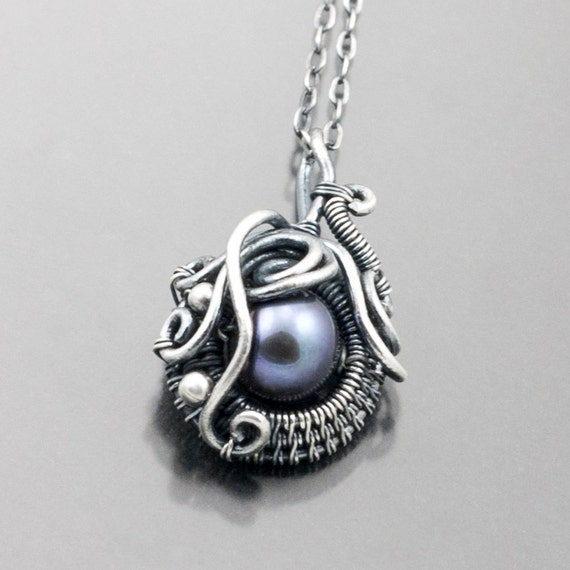 Freshwater Pearl and Fine Silver Pendant - Ocean's Breath