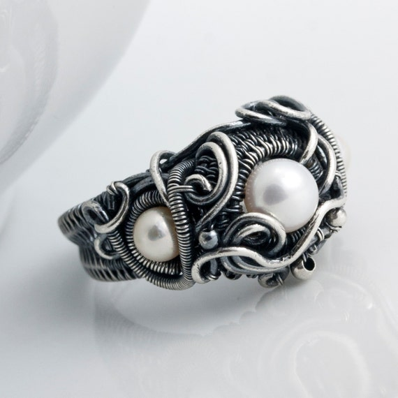 Size 7 - Akoya Saltwater  Pearl  Ring, Fine Silver Ring - Ocean's Breath