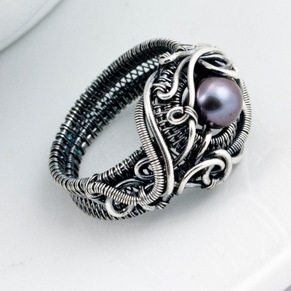 Size9 - Freshwater Peacock Pearl and Fine Silver Ring - Ocean's Breath